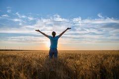 Vrije Gelukkige Vrouw die van Aard en Vrijheid genieten Openlucht Vrouw met wapens uitgestrekt op een tarwegebied in zonsondergan stock fotografie