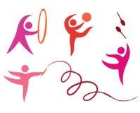Vrije geplaatste gymnastiekpictogrammen Royalty-vrije Stock Foto's