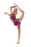Vrije gymnastiek Aanbiddelijke turner met maces Royalty-vrije Stock Foto