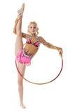 Vrije gymnastiek De turner van Nice het stellen met hoepel Stock Afbeelding