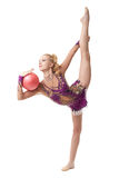 Vrije gymnastiek Turner die verticale spleet doen Royalty-vrije Stock Fotografie