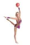 Vrije gymnastiek Vrij jonge turner met bal Royalty-vrije Stock Fotografie