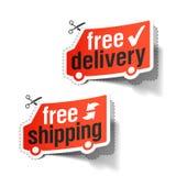 Vrije levering en Vrije verschepende etiketten Royalty-vrije Stock Foto