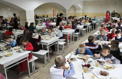 Vrije maaltijd bij school_2 Stock Foto