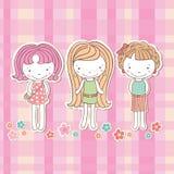 Vrije meisjes op de roze achtergrond, Stock Fotografie