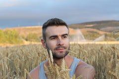Vrije mens die aard van zonsondergang genieten Vrijheid en sereniteitsconcept met aantrekkelijk natuurlijk mannelijk model Kaukas royalty-vrije stock fotografie