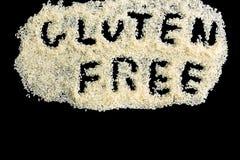 Vrije rijst en geschreven gluten stock foto's