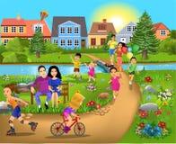 Vrije tijdsactiviteiten, lopend door het park, in werking stellend en hebbend pret royalty-vrije illustratie
