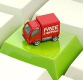 Vrachtwagen op toetsenbordsleutel Stock Fotografie