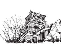 Vrije Wereldberoemde handschets: Kumamotokasteel Japan Royalty-vrije Stock Afbeelding
