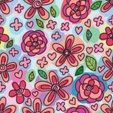 Vrije wervelings de bloem trekt naadloos patroon Stock Foto