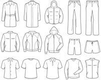Vrijetijdskleding en de sportkleding van Menâs de royalty-vrije illustratie
