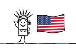 Vrijheid en de vlag van de V.S. Stock Afbeeldingen