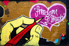 Vrijheid van de graffiti van de toespraakmuur Royalty-vrije Stock Afbeeldingen