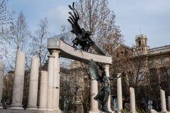 Vrijheidsvierkant Monumenten aan slachtoffers van Duits en Hongaars Nazisme stock fotografie
