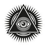 Vrijmetselaars- symbool Allen die Oog binnen het Pictogram van de Piramidedriehoek zien Vector stock illustratie