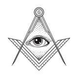 Vrijmetselaars- vierkant en kompassymbool met allen die oog, Freemaso zien stock illustratie