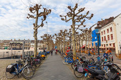 On the Vrijthof in Maastricht, Netherlands. Maastricht, Netherlands - April 11, 2016: Vrijthof in Maastricht with unidentified people. Vrijthof, the largest and stock images