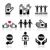 Vrijwilliger, mensen die of geplaatste conceptenpictogrammen helpen geven Royalty-vrije Stock Afbeeldingen