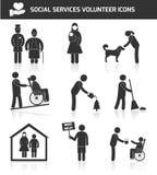 Vrijwilligers geplaatste pictogrammen Stock Fotografie