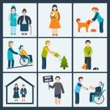 Vrijwilligers geplaatste pictogrammen Stock Afbeeldingen