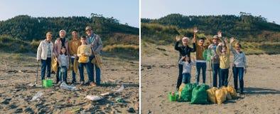 Vrijwilligers before and after het schoonmaken van het strand royalty-vrije stock afbeeldingen