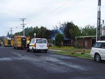 Vrijwilligersbrandweerlieden bij een calloutnoodsituatie Stock Afbeelding