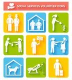 Vrijwilligerspictogrammen geplaatst vlak Stock Foto's