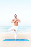 Vriksasana. Fit man performing yoga pose at the beach Stock Image
