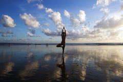 Vrikshasana tree pose. From yoga by woman silhouette on sunset Stock Photo
