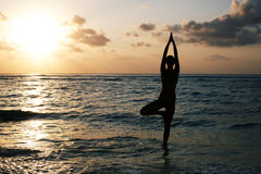 Vrikshasana tree pose from yoga Stock Image