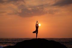 Vrikshasana tree pose from yoga. By woman silhouette on sunset Royalty Free Stock Image