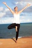 Vrikshasana yoga exercise Royalty Free Stock Photography
