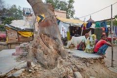 Vrindavan, o 22 de outubro de 2016: A família indiana senta-se perto de uma estrada, Vrind fotografia de stock royalty free