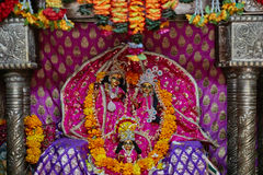 Vrindavan, 22 October 2016: Beautiful altar of Radha and Krishna. Vrindavan, UP Stock Images