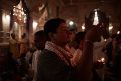 Vrindavan, 22 October 2016: A group of people offering fire at t stock images