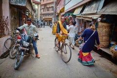 Vrindavan, 22 October 2016: People on the street, in Vrindavan, royalty free stock image
