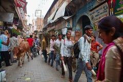 Vrindavan 22 Oktober 2016: Folk på gatan, dagligt livsce Fotografering för Bildbyråer
