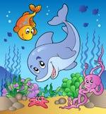 Vários animais bonitos na parte inferior de mar Fotos de Stock Royalty Free