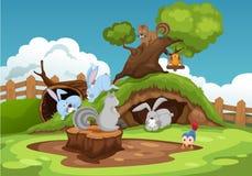 Vários animais no fundo da paisagem Fotografia de Stock Royalty Free