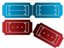Vários bilhetes em vermelho e em azul Imagens de Stock Royalty Free