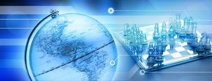 värld för affärsschackstrategi Arkivfoton