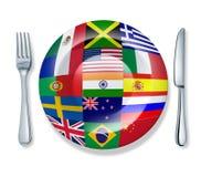 värld för platta för kniv för matgaffel internationell isolerad Royaltyfri Foto
