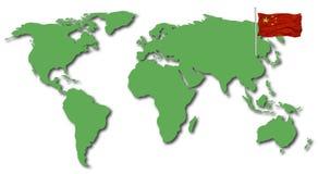 värld för porslinflaggaöversikt Royaltyfri Foto