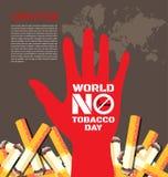 Värld ingen tobakdagbakgrund Arkivfoto