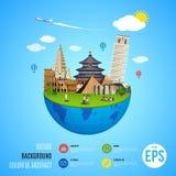 Världsgränsmärkebegrepp Vektorillustration för loppdesign Fotografering för Bildbyråer