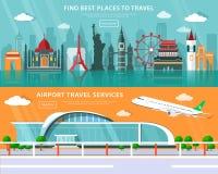 Världsgränsmärken, ställen som reser, och uppsättning för flygplatsloppservice med den plana beståndsdelvektorillustrationen Arkivbilder