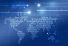 Världskarta för binär kod för teknologi Royaltyfria Foton