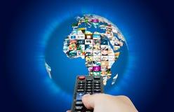 Världskarta för televisionTV-sändningmultimedia Royaltyfria Bilder