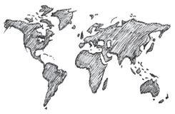Världskarta frihandsblyertspenna, vektor, illustration, modell Arkivbild